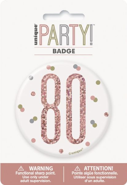 Glitz Rose Gold Age 80 Badge